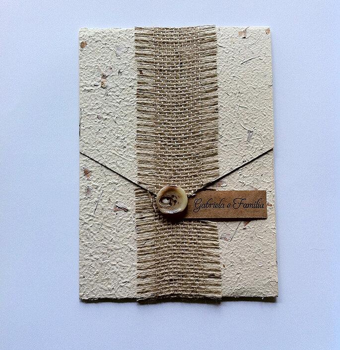 Convite casamento papel reciclado artesanal