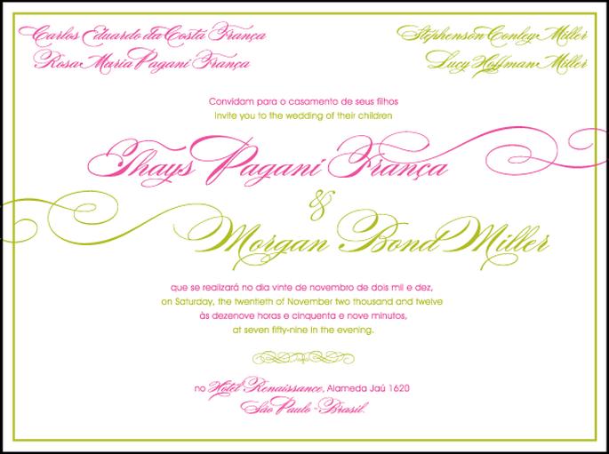 Invitación en inglés y portugués, alternando ambos idiomas en colores diferentes. Foto: divulgación