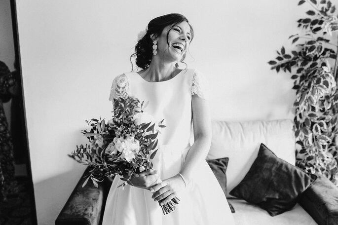 Noiva em foto a preto e branco