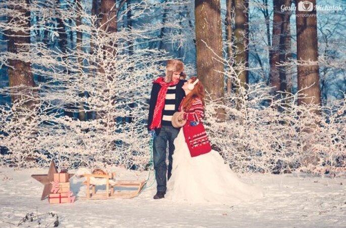 Zdjęcia ślubne na śniegu