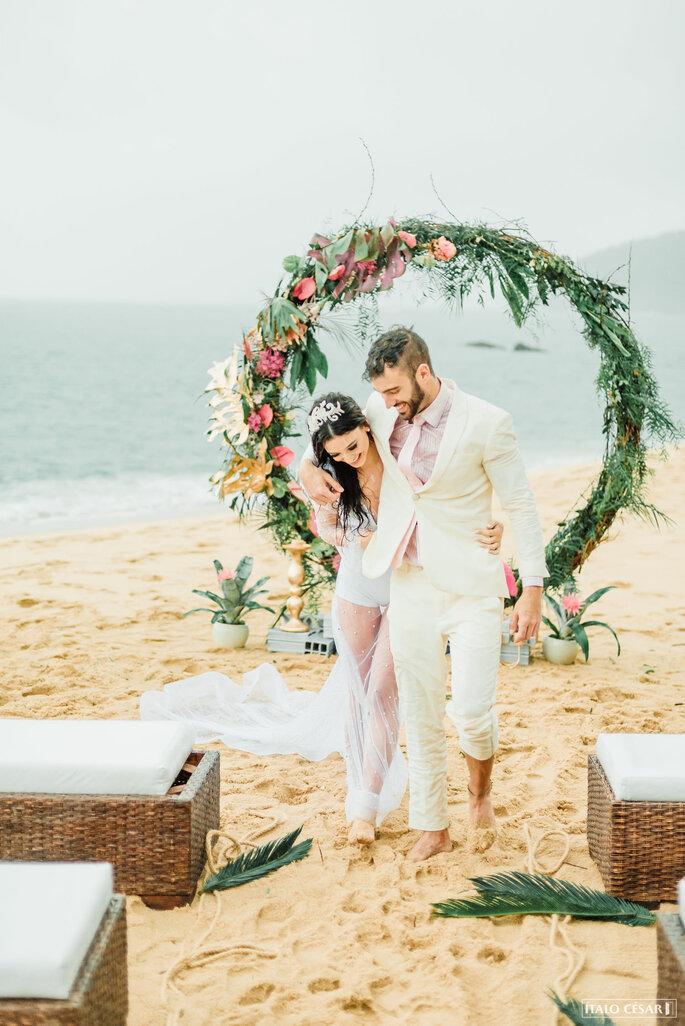 Altar para casamento praiano