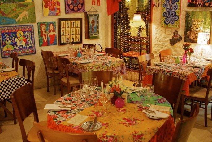 restaurante colorido para mini wedding