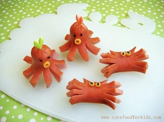 Poulpes et crabes en saucisses - CuteFoodforkids