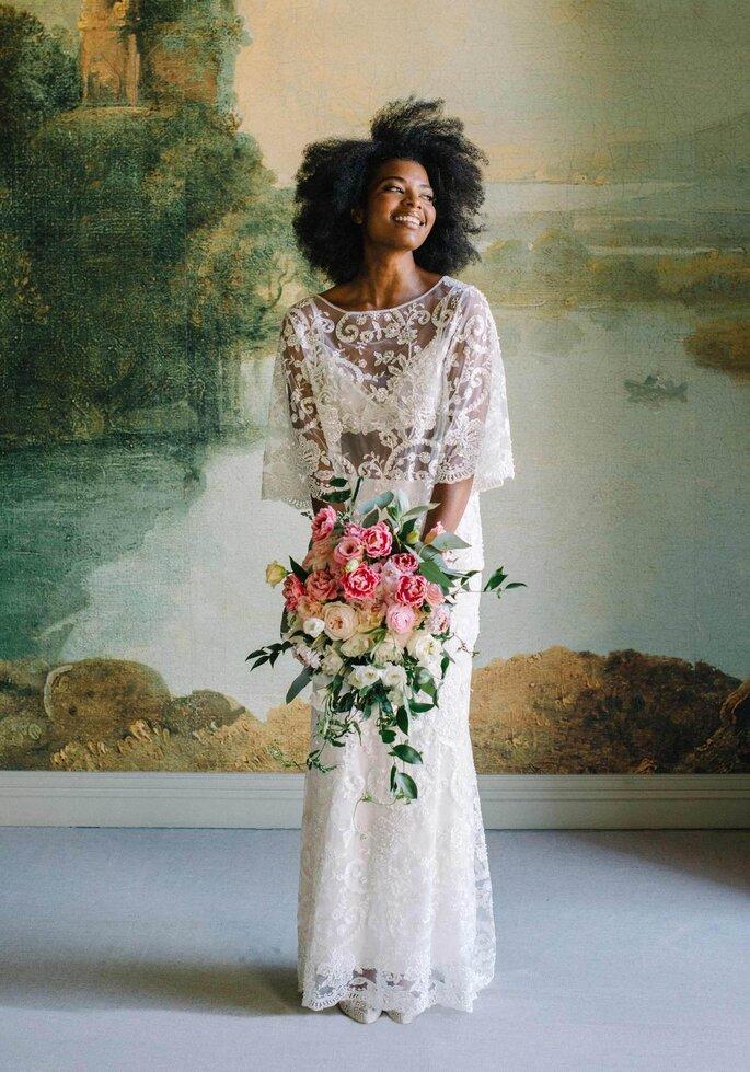Robe de mariée vintage avec un décolleté illusion