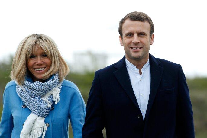 Presidente Macron e sua esposa Briggite