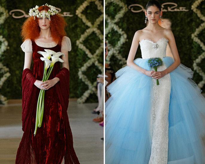 Vestidos de novia en color rojo y azul - Foto: Oscar de la Renta 2013