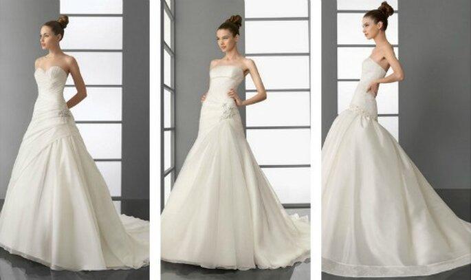 Dettagli gioiello in vita o sul fianco rendono unico l'abito da sposa. Aire Barcelona Collezione 2012