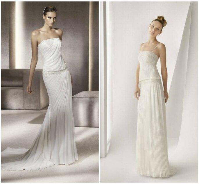 Dos vestidos de novia de talle bajo, muy al estilo de los años 20. Foto Pronovias y Rosa Clara