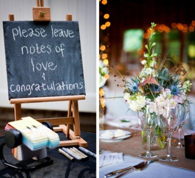 Pizarras que invitan a los invitados a dejar sus mensajes. Foto: Onestylishbride