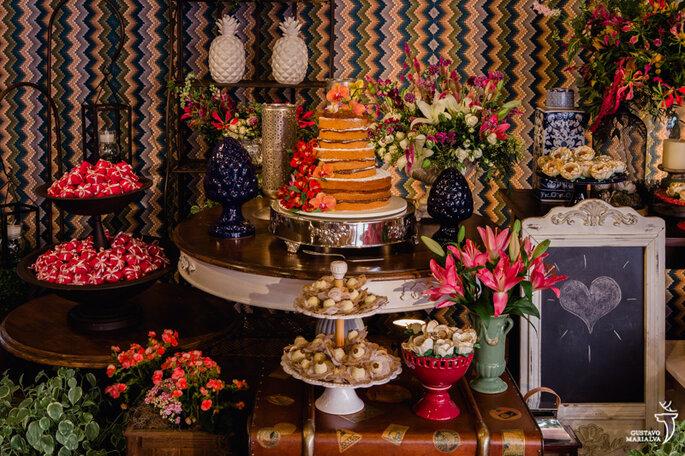 mesa bolo decoração rústica
