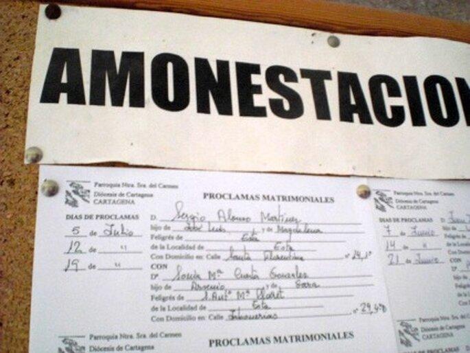 Amonestaciones anuncio público en el tablón de la parroquia