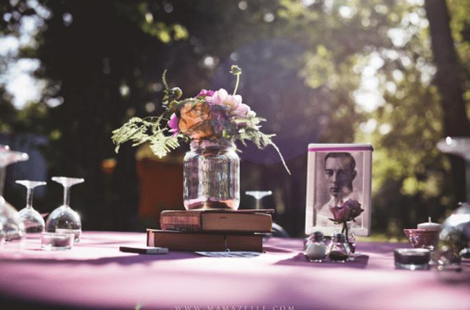 Libros, preciosos libros, tema de boda para las amantes de la literatura. Fotografía Mamazelle