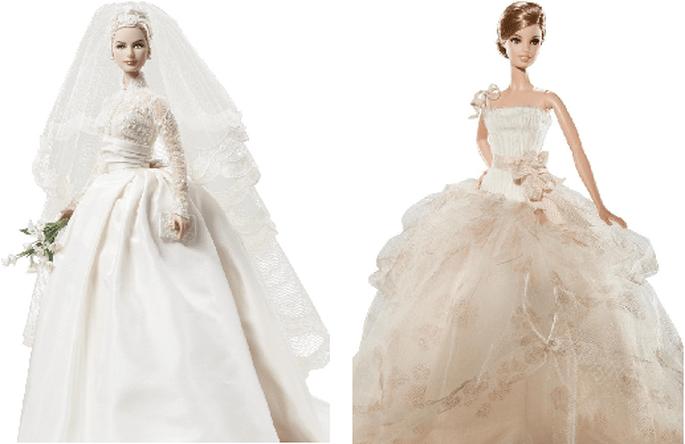 Grace Kelly (izqda.) y diseño nupcial de Vera Wang (dcha.). Foto: Barbie Collector.