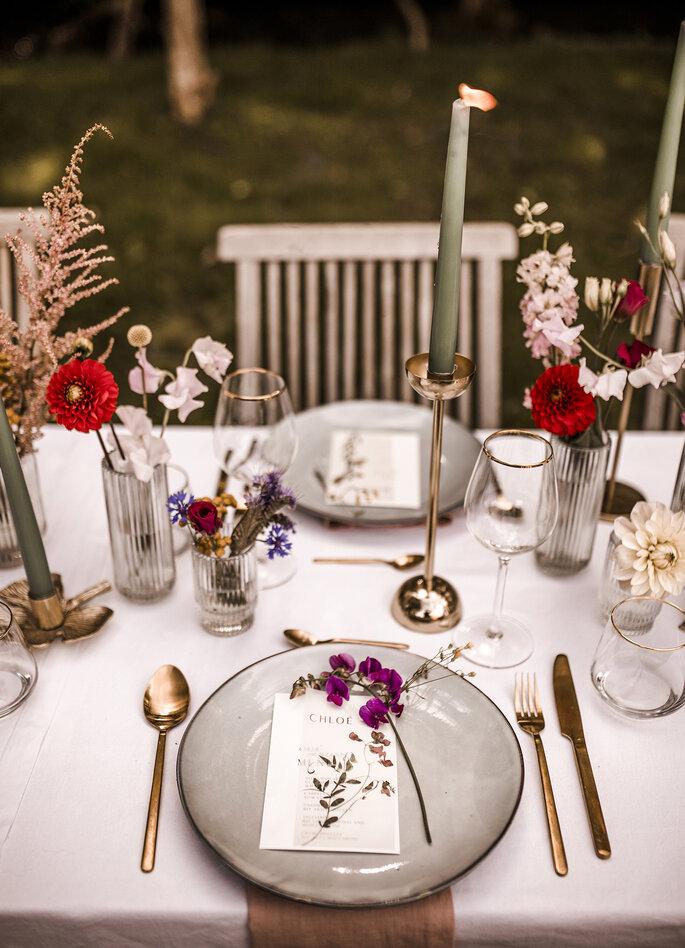 Tischdekoration Gartenhochzeit