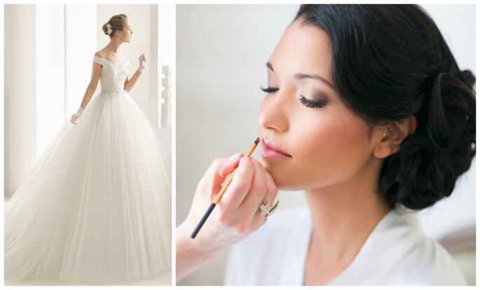 Photo à gauche : Robe de mariée modèle Neira de Rosa Clara / Photo à droite : Maquillage Sanni Sorma Make up Artist