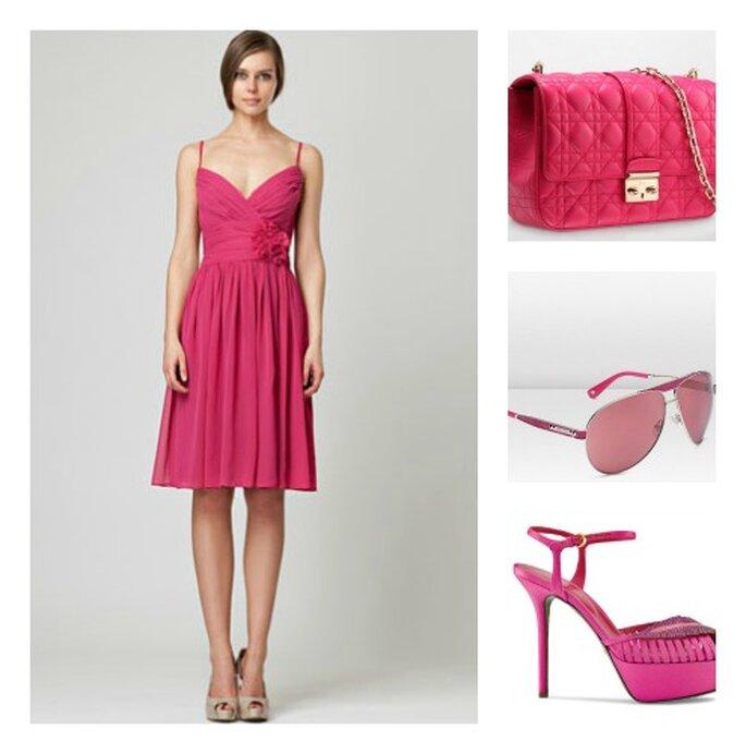 Pink style con un abito Monique Lhuillier, la borsetta e gli occhiali da sole Dior e le scarpe Sergio Rossi. Foto: moniquelhuillier.com, dior.com e sergiorossi.com