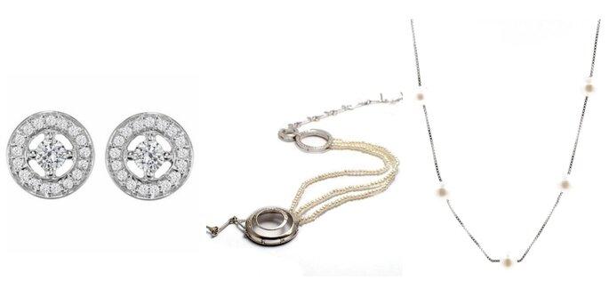 Image de gauche : Boucles d'oreilles ELY, Le Joaillier du Marais / Image au centre : Headband en or blanc, Noémie Briand / Image à droite : Collier, Gautrey Paris
