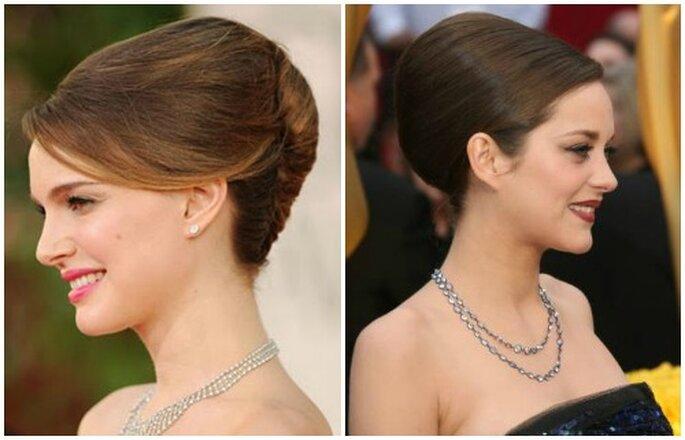 Le attrici Natalie Portman e Marion Cotillard hanno scelto uno chignon semplice e gonfio. Sceglilo anche tu, sarai assolutamente elegante! Foto Youtube