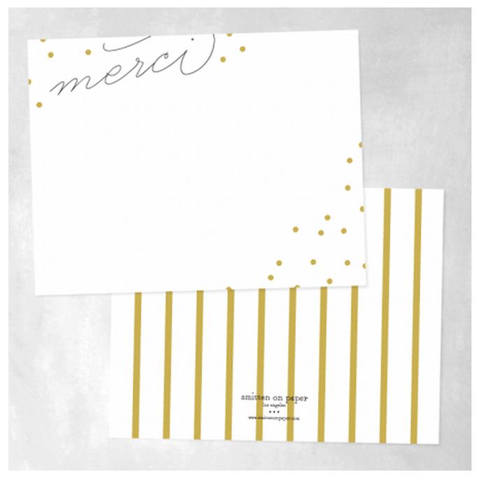 Elige rayas y diseños muy chic para tus tarjetas de agradecimiento - Foto Smitten on Paper