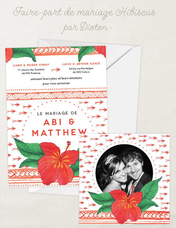 Faire-part de mariage à l'aquarelle Hibiscus et carte de remerciement assortie sur Dioton.fr