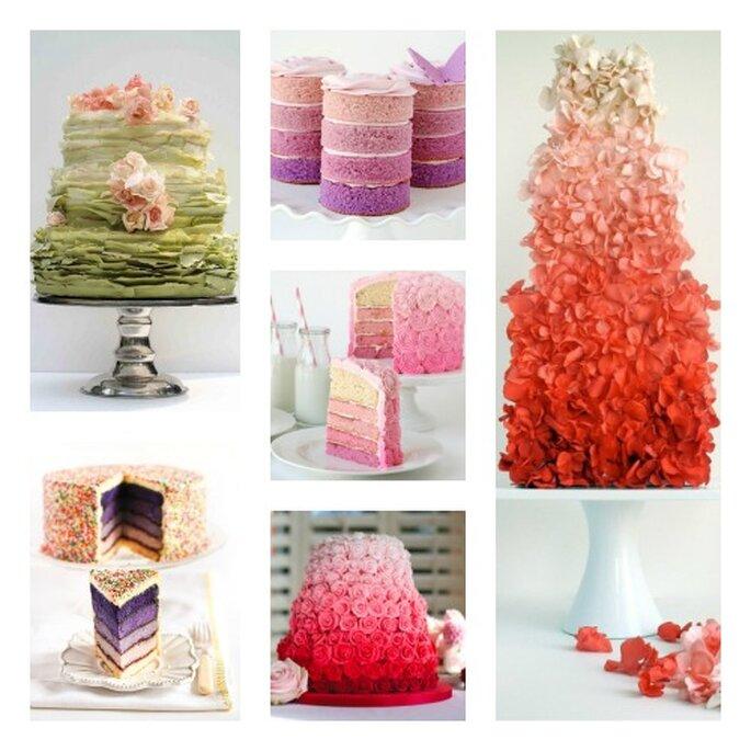 Torte matrimoniali con decorazioni di diverse gradazioni di colore. Foto: Maggie Austin Cake, Glorius Treatds, Janet Mohapi-Banks y CRAFT