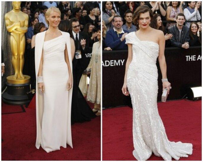Vestidos blancos en los Oscar 2012. Gwyneth Paltrow y Milla Jovovich