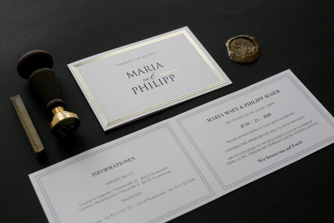 Hochzeitseinladung, Hochzeitskarte edel