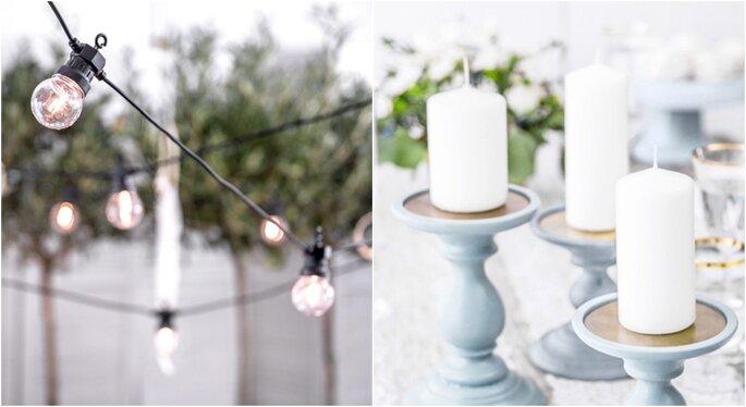 Decoración de bodas en jardines con velas