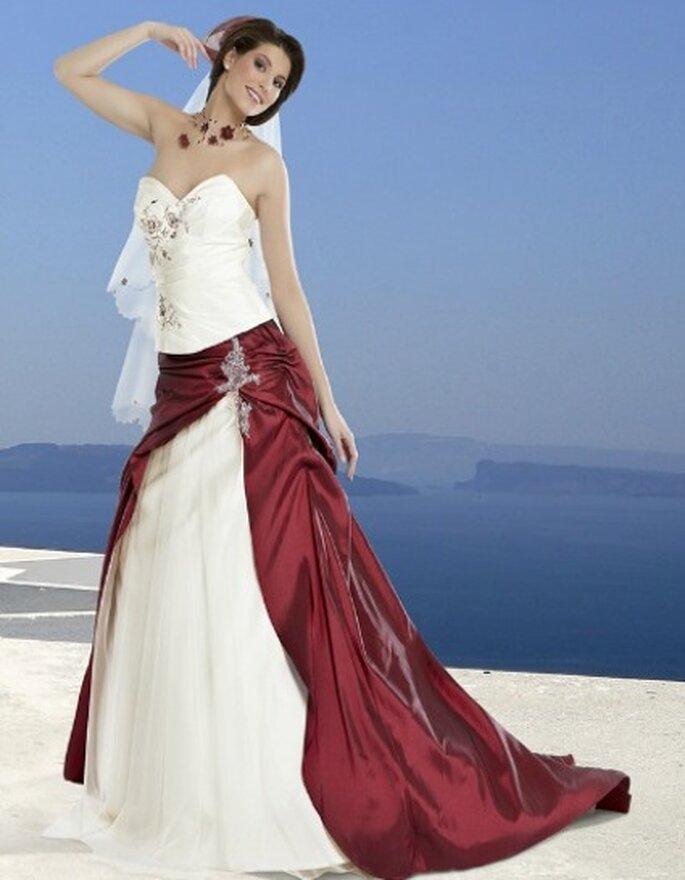 Robe de mariée rouge et blanche Corinne - Miss France - Complicité 2012