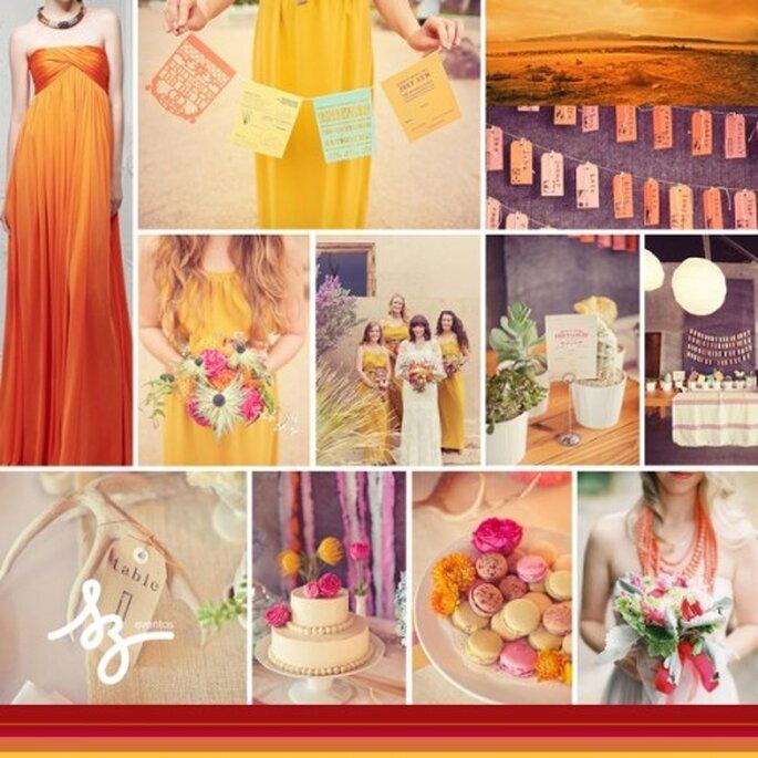 Collage de inspiración para una boda inspirada en los colores del desierto - Fotos featherandstone.com, greenweddinshoes.com, iwallscreen.com, alexandermcqueen,com -- Diseño de Raisa Torres para SZ Eventos