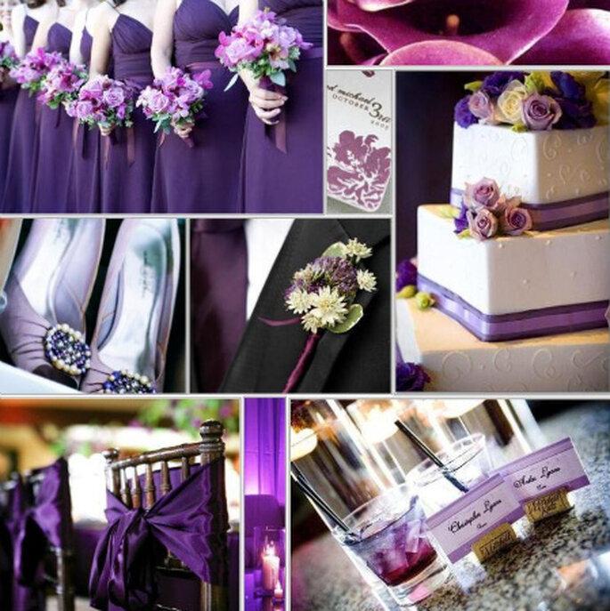 Decoração em roxo -  fotos @Bridalbuds, The Knot e Project Wedding
