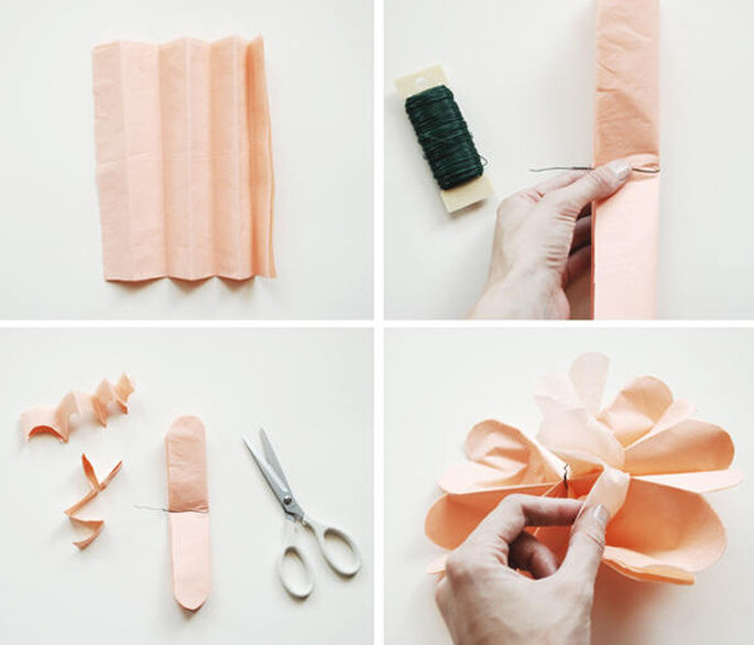 Dobla y corta las flores de papel. Foto: www.oncewed.com