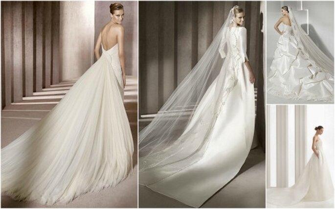 Varias propuestas de cola para vestidos de novia. ¿Cuál es tu favorita?