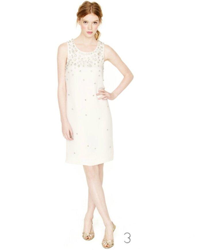 Vestido de novia corto con brillantes incrustados - Foto: JCrew Wedding Collection 2012
