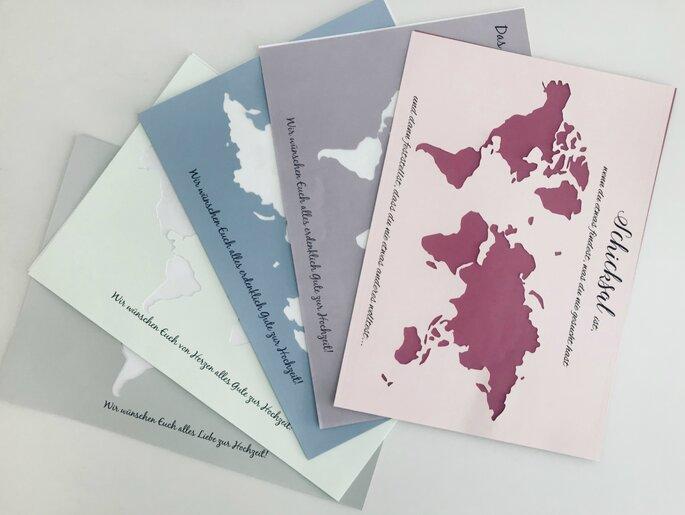 Geldgeschenk zur Hochzeit Weltkarte