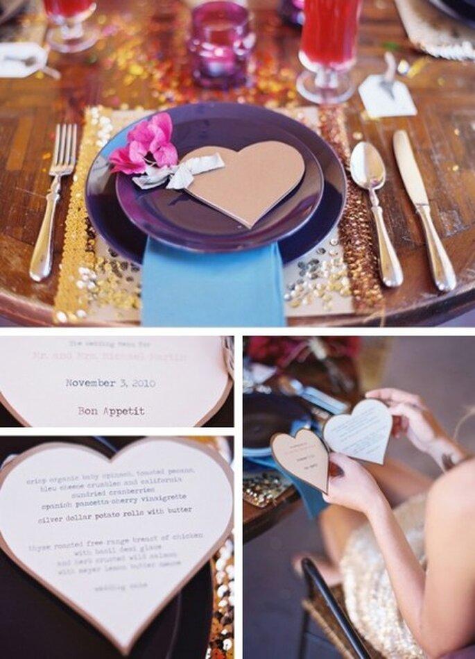 Menü- und Platzkarten liebevoll selbst gemacht – Foto: organiser un mariage