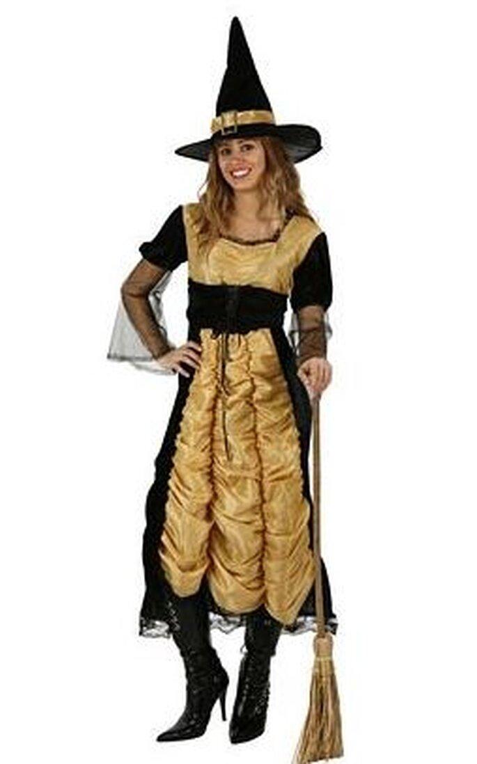 Disfraz de brujita largo en negro y dorado