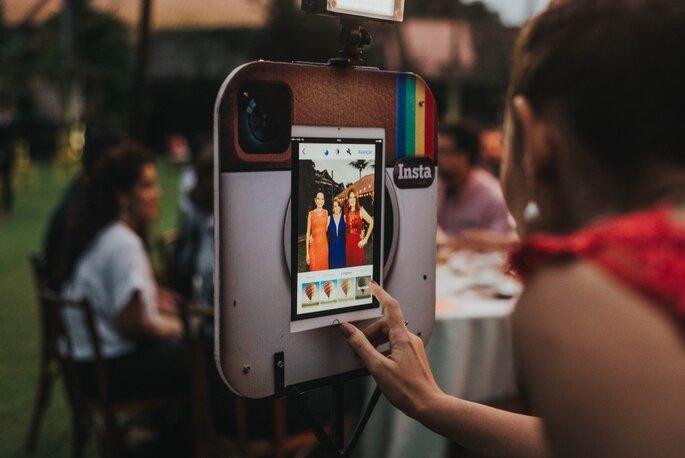máquina de fotos em festa de casamento