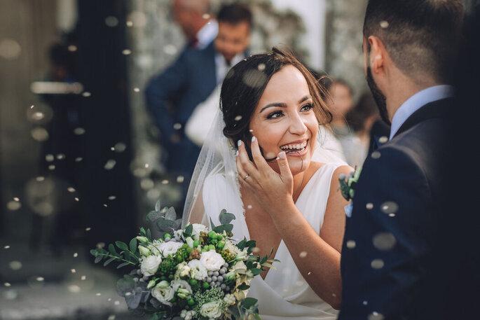 A felicidade estampada no rosto da noiva