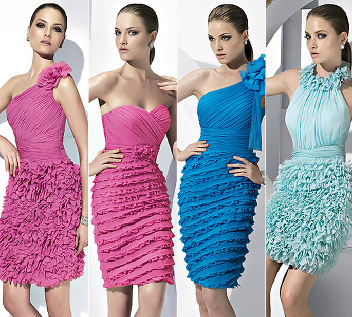 Vestidos cortos con 'ruffles', de Pronovias 2011