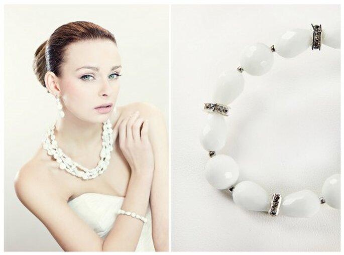 Ganz in Weiß – Steine sind die perfekte Alternative zu den echten Perlen – Foto: fulara