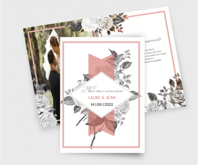 Carte de remerciement de mariage fleurs