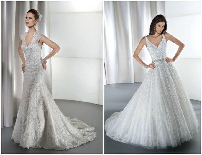 ¿Encaje o cristales? En ambos casos, una novia muy chic. Fotos: www.demetriosbride.com