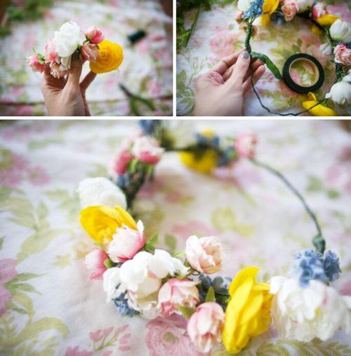 DIY: tutorial per preparare la propria corona di fiori! Foto: Bluebird Vintage