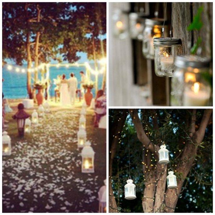 Bougies, lampions et photophores donneront une touche romantique à votre cérémonie laïque - Source : Pinterest - carnet de mariage http://pinterest.com/cdemariage/boards / https://www.carnetsdemariage.tumblr.com