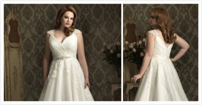 Wedding dress plus size apple shape weddings best dress for Wedding dress for apple shaped plus size