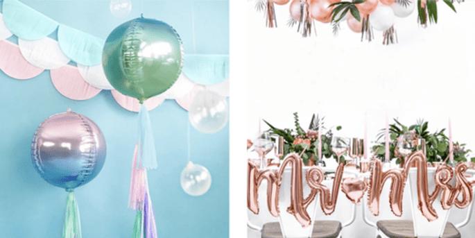 Ballon foil sphérique holographique bleu et vert et Ballons Mr. et Mrs. rose gold