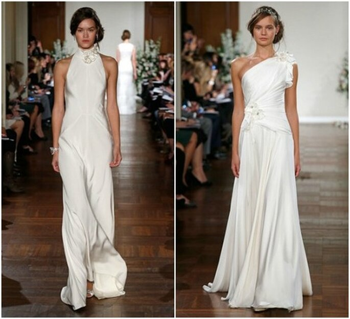 Linea sobria e minimal per questi modelli in chiffon Jenny Packham Fall 2013 Bridal Collection. Foto: www.jennypackham.com
