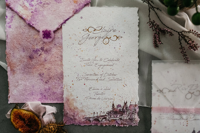 Elegante und edle Hochzeitspapeterie in Aquarell Lila und Weinrot mit Kalligrafie Zeichnung