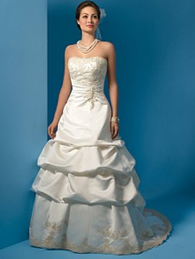Strapless satin gown by Alfred Angelo